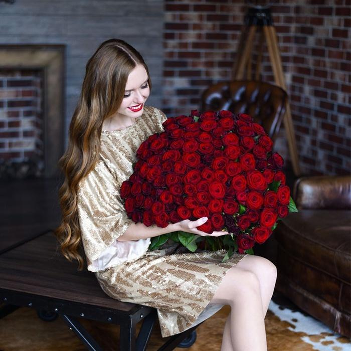 101 роза купить букет красных бордовых роз в Перми