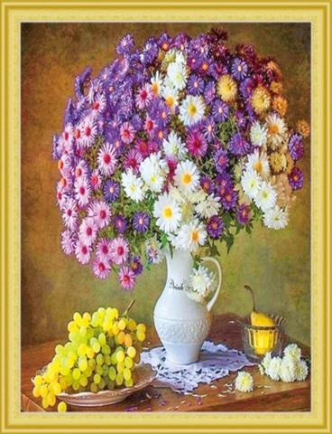 Алмазная Мозаика 50x65 Натюрморт с ромашками и виноградом