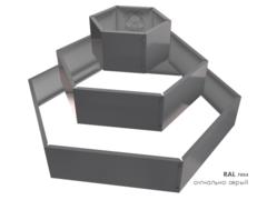 Клумба многоугольная оцинкованная Альпийская горка 3 яруса RAL 7004 Сигнальный серый