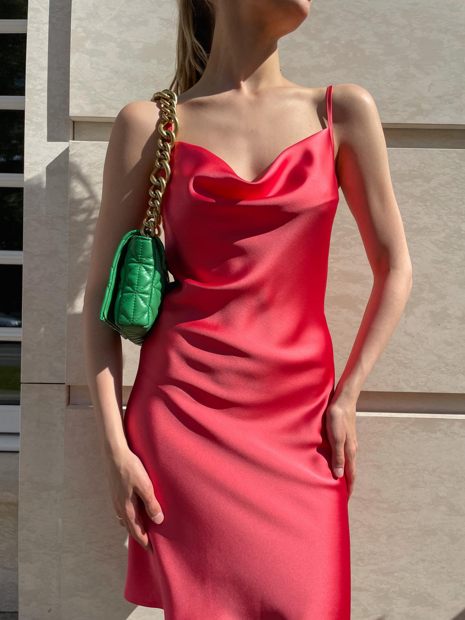 Платье-комбинация из атласа укороченная (коралловый)