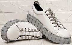 Кеды на осень кроссовки белые на платформе Guero G146 508 04 White Gray.