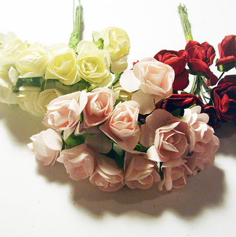 Роза бумажная, диаметр 15 мм, розовый