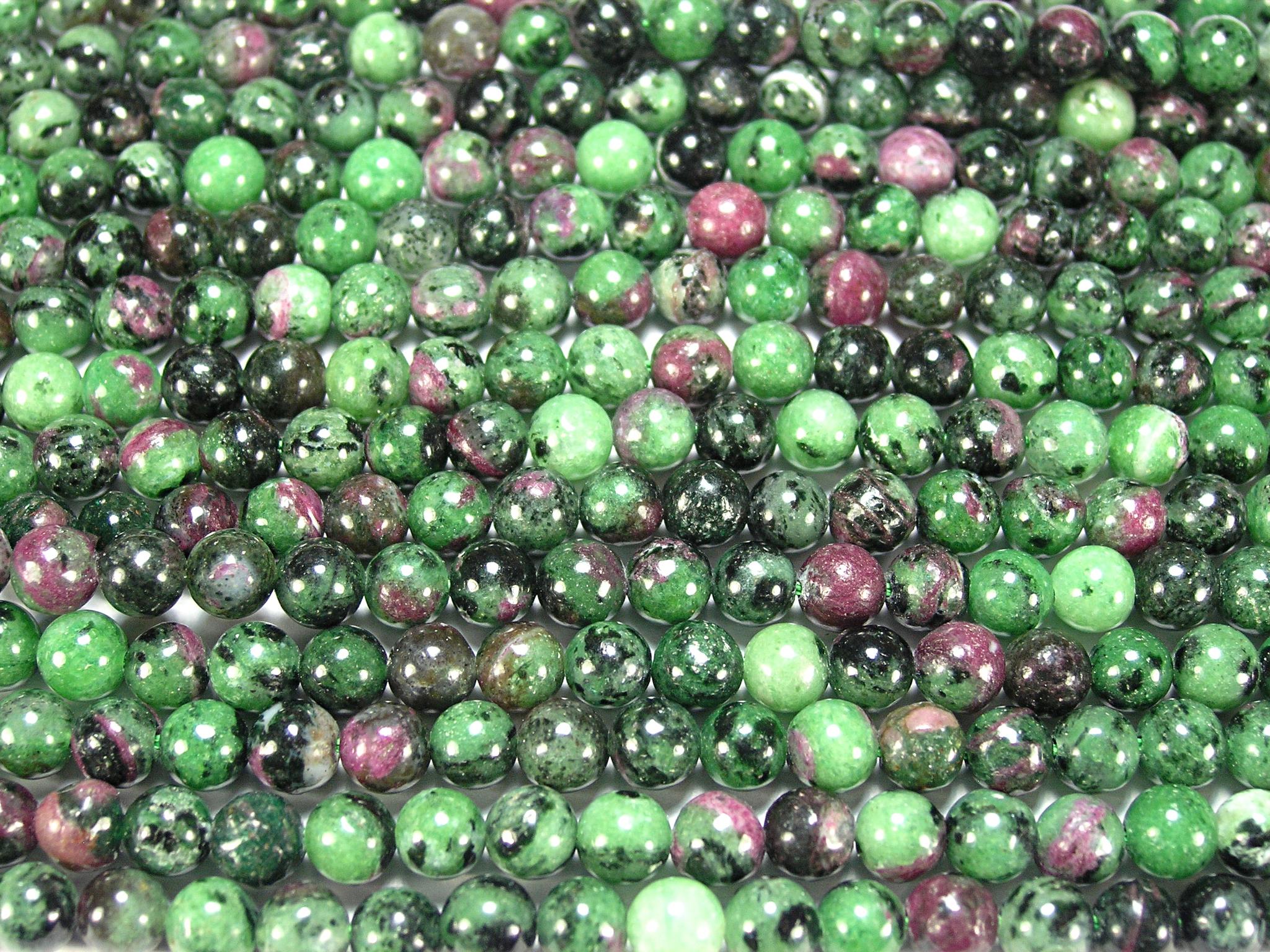 Нить бусин из рубина в цоизите, шар гладкий 6мм