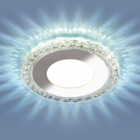 Встраиваемый светодиодный точечный светильник с LED подсветкой 9909 LED 8W CL прозрачный