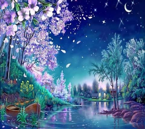 Алмазная Мозаика + Багет 40x50 Волшебная ночь на реке