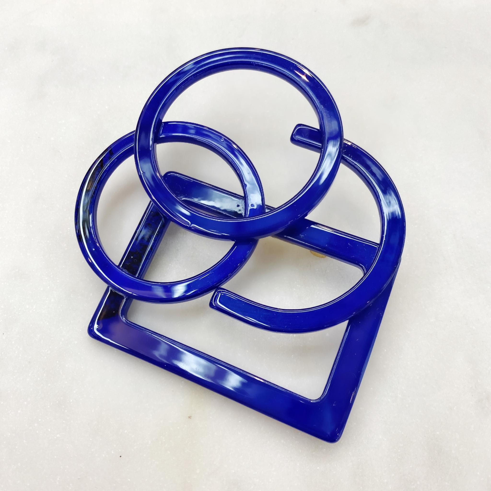 Брошь Акрил Геометрия контурная синий