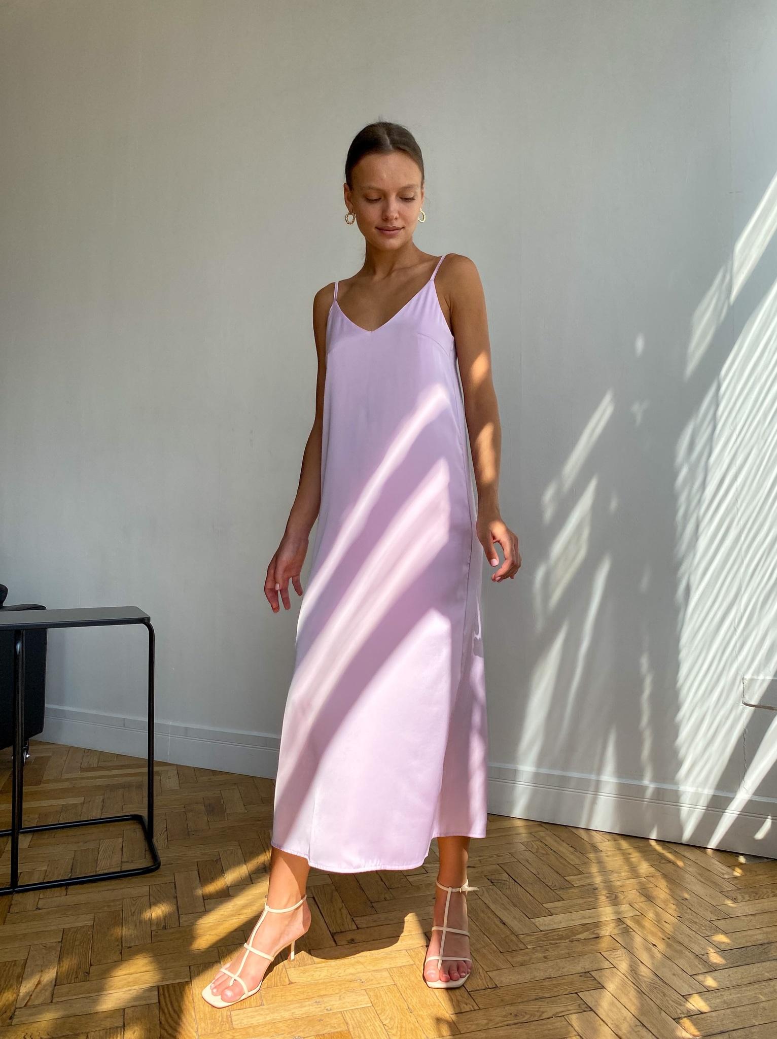 Платье-комбинация из смесового шелка (лавандовый)