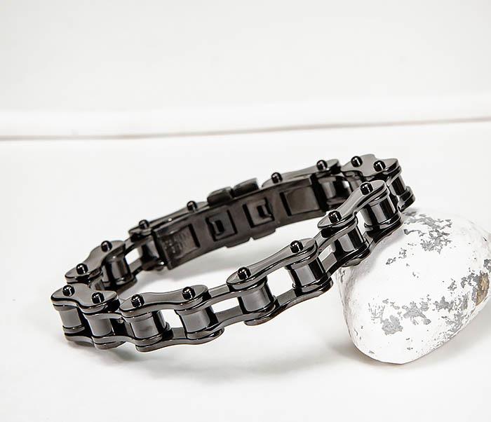 BM574-1 Стальной браслет мото цепь черного цвета фото 07