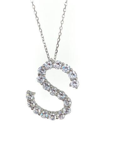 Подвеска буква S из серебра с ослепительными цирконами