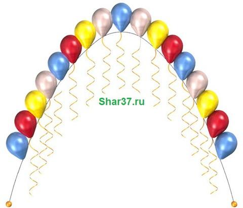 Арка (цепочка) из шариков не требует крепления. Состоит из 17 шаров, длина регулирутеся.