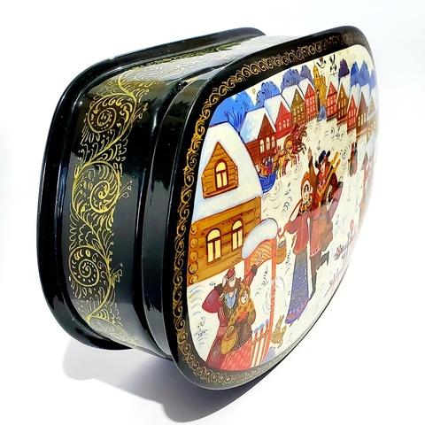 Шкатулка большая ручной росписи Вдоль по улице метелица метет. Палехская живопись