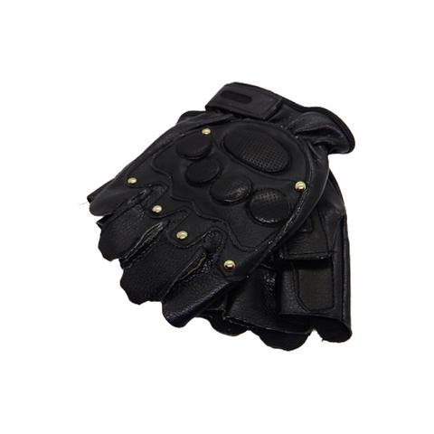 Перчатки кожаные Pitdards с заклепками, без пальцев,black (L)