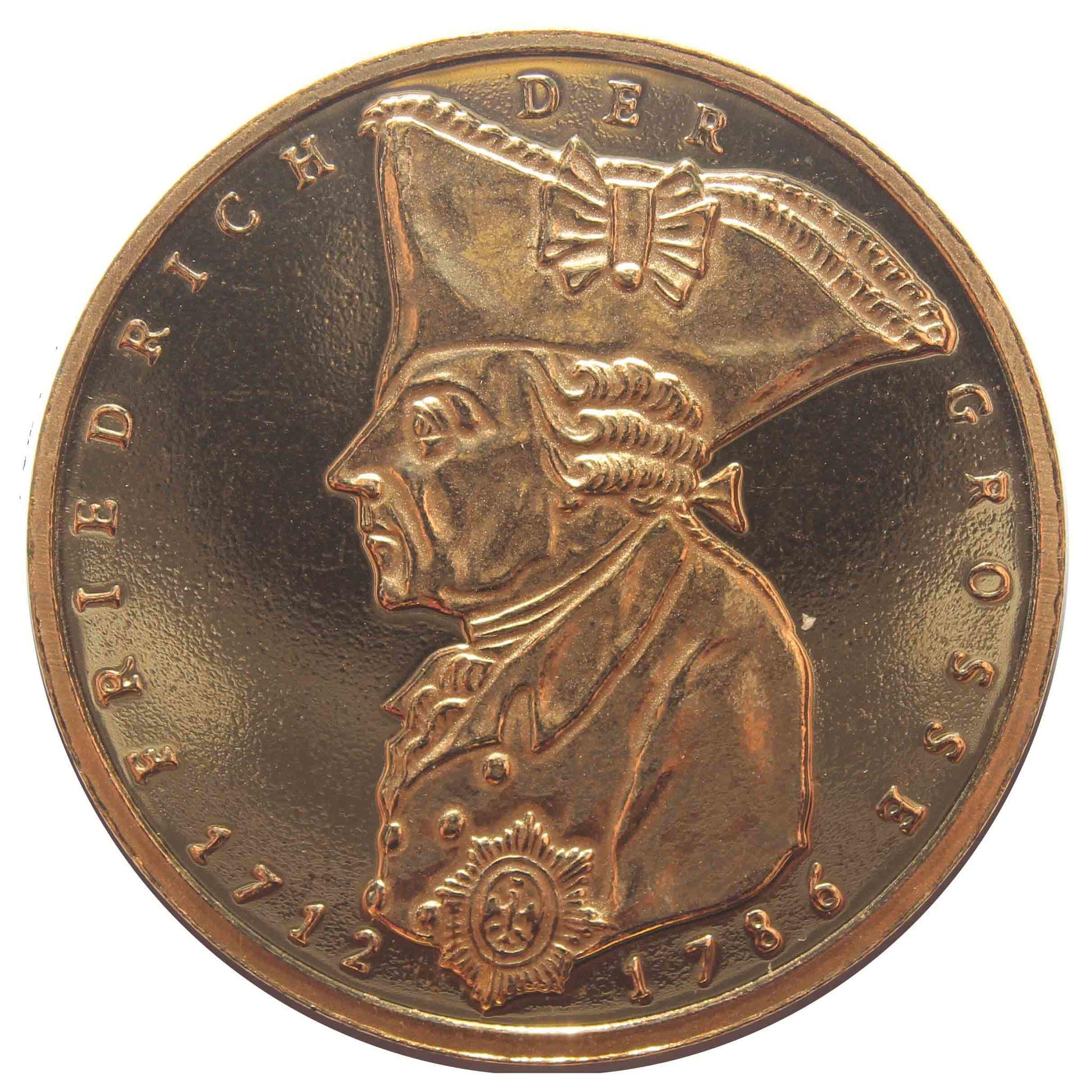 5 марок. 200 лет со дня смерти Фридриха II Великого. (F) Германия. Медноникель с позолотой. 1986 г. UNC