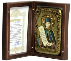 Инкрустированная икона Святая преподобная Аполлинария Египетская 15х10см на натуральном дереве, в подарочной коробке