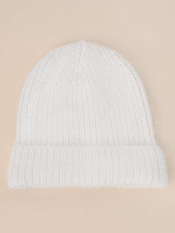 Женская шапка молочного цвета из ангоры - фото 2