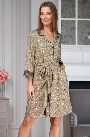 Короткий женский халат на пуговицах Доминика