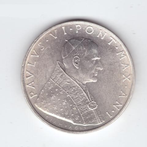 500 лир 1963 год. Ватикан. Папа Павел VI (1963 - 1978). Серебро. AU