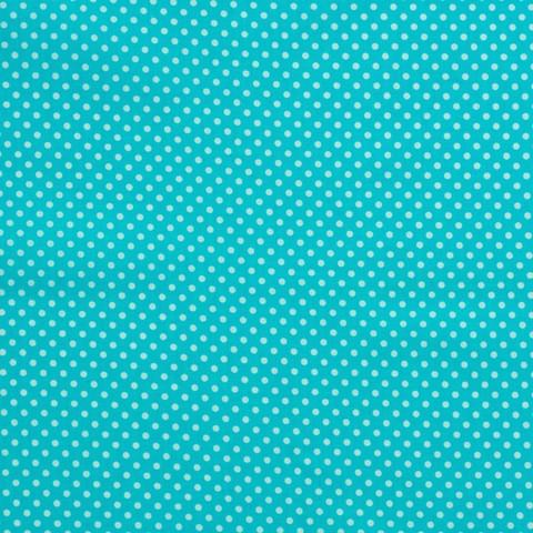 Ткань хлопковая белые горошки на бирюзовом, отрез 50*80 см