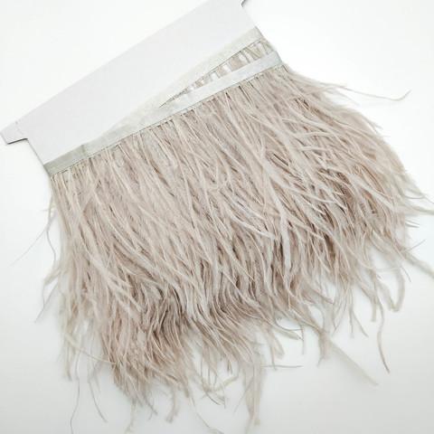 Тесьма  из перьев страуса h 10-15 см., тауп