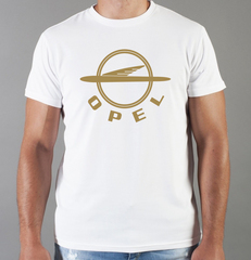 Футболка с принтом Опель (Opel) белая 009