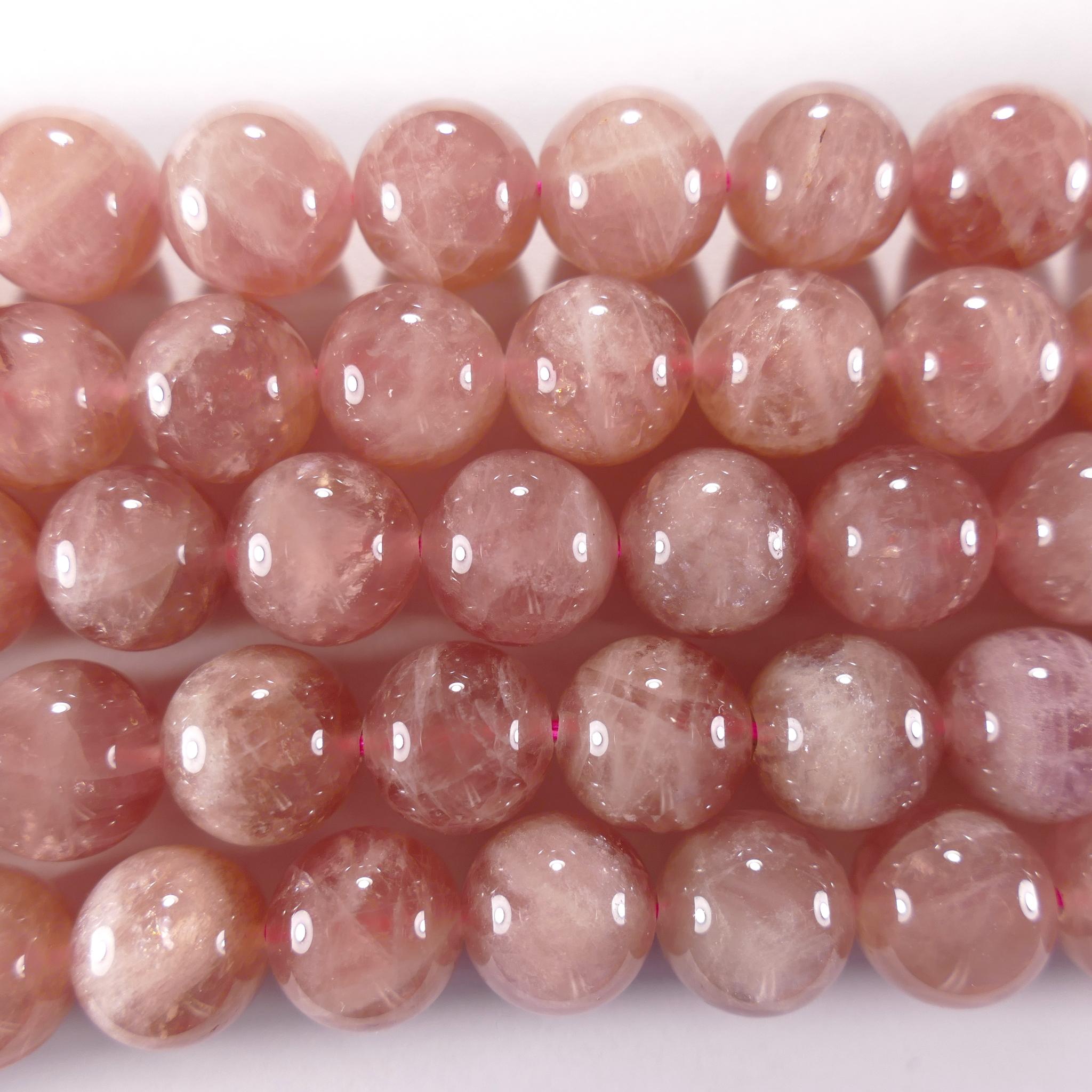 Нить бусин из кварца розового (Мадагаскар), шар гладкий 12мм