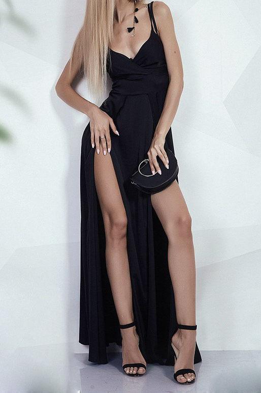 Вечернее шелковое платье на бретелях, черного цвета