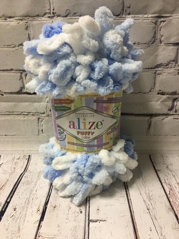 Пряжа ALIZE PUFFY COLOR №5865 белый-голубой
