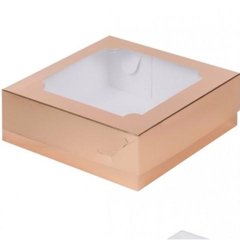 Коробка под зефир и печенье с окном, 20*20*7см, золото