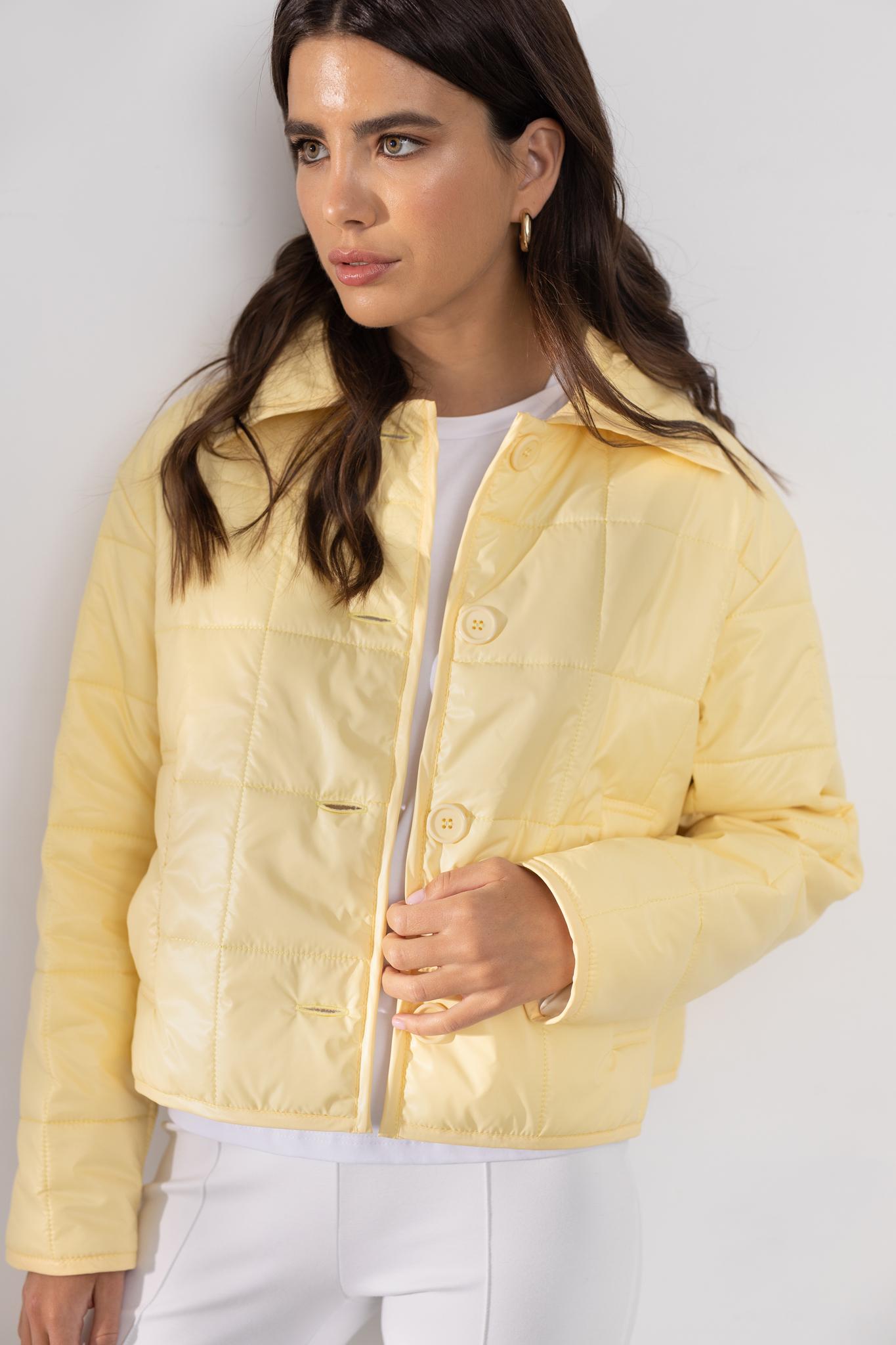 Короткая стеганая курточка (желтый)
