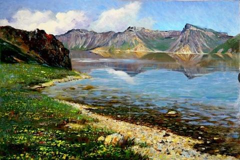 Картина раскраска по номерам 50x65 Озеро у гор (арт. OTG6024)