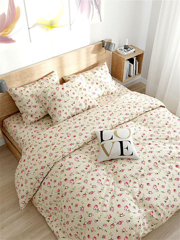 Пододеяльник  -Розовые бутоны на бежевом- 2-спальный на молнии 175х215 см