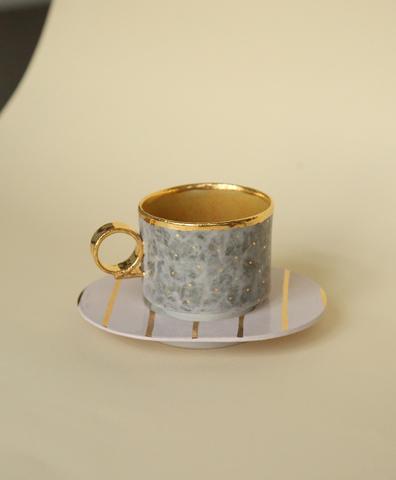 Кофейная пара  серая с золотыми точками