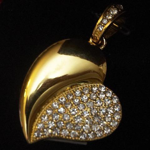 Флешка-кулон usb в виде сердца со стразами золотого цвета jf_p_heart_gold
