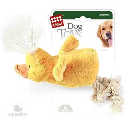 75052 Игрушка для собак gigwi Утка с пищалкой