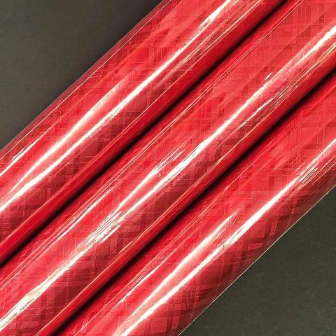 Бумага фольгированная Клетка красная