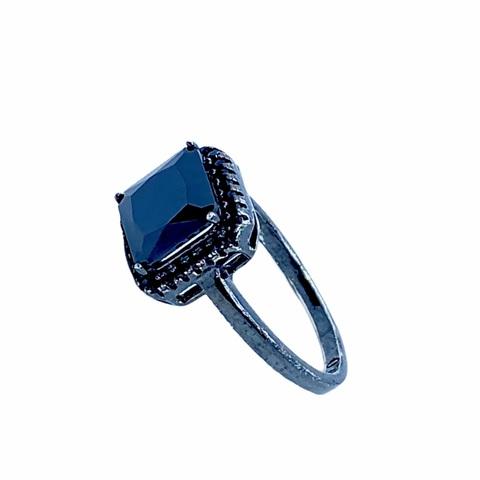 19823 - кольцо из серебра с черным цирконом в черном родаже