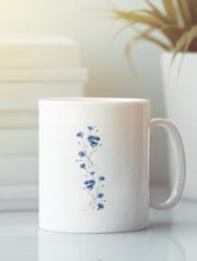 Кружка с изображением Цветы (Васильки) белая 002