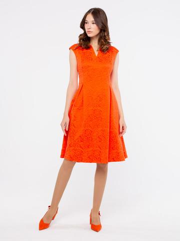 Фото оранжевое приталенное платье с расклешенной юбкой - Платье З905а-765 (1)