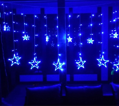 Гирлянда шторы Звезды 3 м голубая