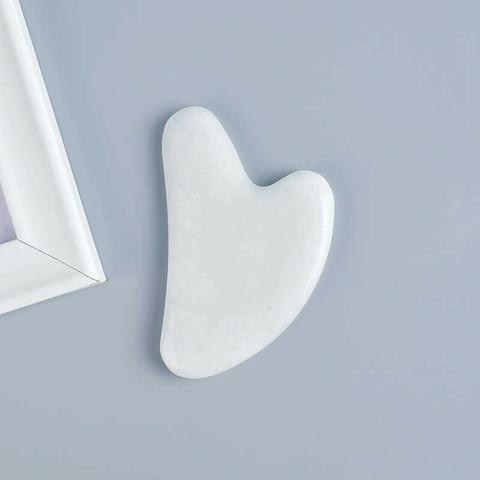 Скребок гуаша для массажа- Сердце  (белый кварц, 8 см)