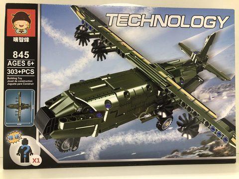 Техник 845 Зеленый самолет 303 дет Конструктор
