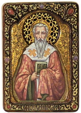 Инкрустированная живописная икона Святитель Григорий Богослов 29х21см на натуральном кипарисе в подарочной коробке