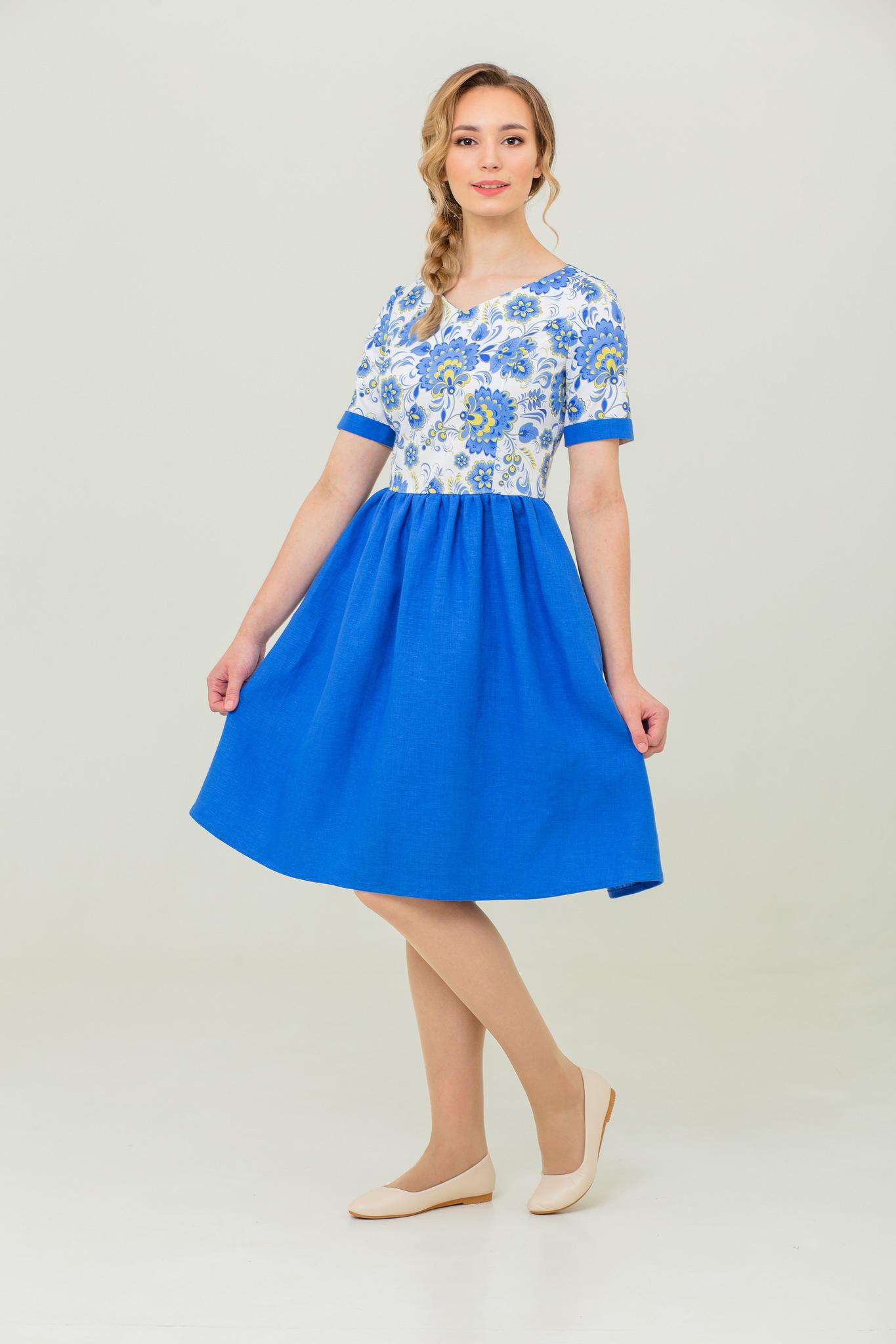русское платье Расписное Гжель купить