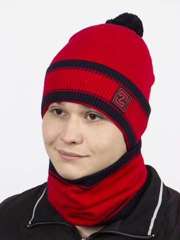 Комплект шапка и снуд, красный цвет
