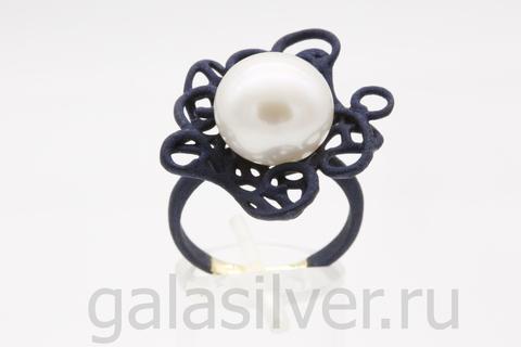 Кольцо с жемчугом из серебро - 925