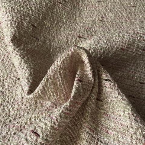 Ткань твид с органзой с розовой нитью 3004/1