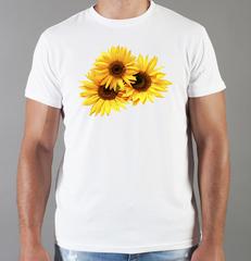 Футболка с принтом Цветы (Подсолнухи) белая 0010