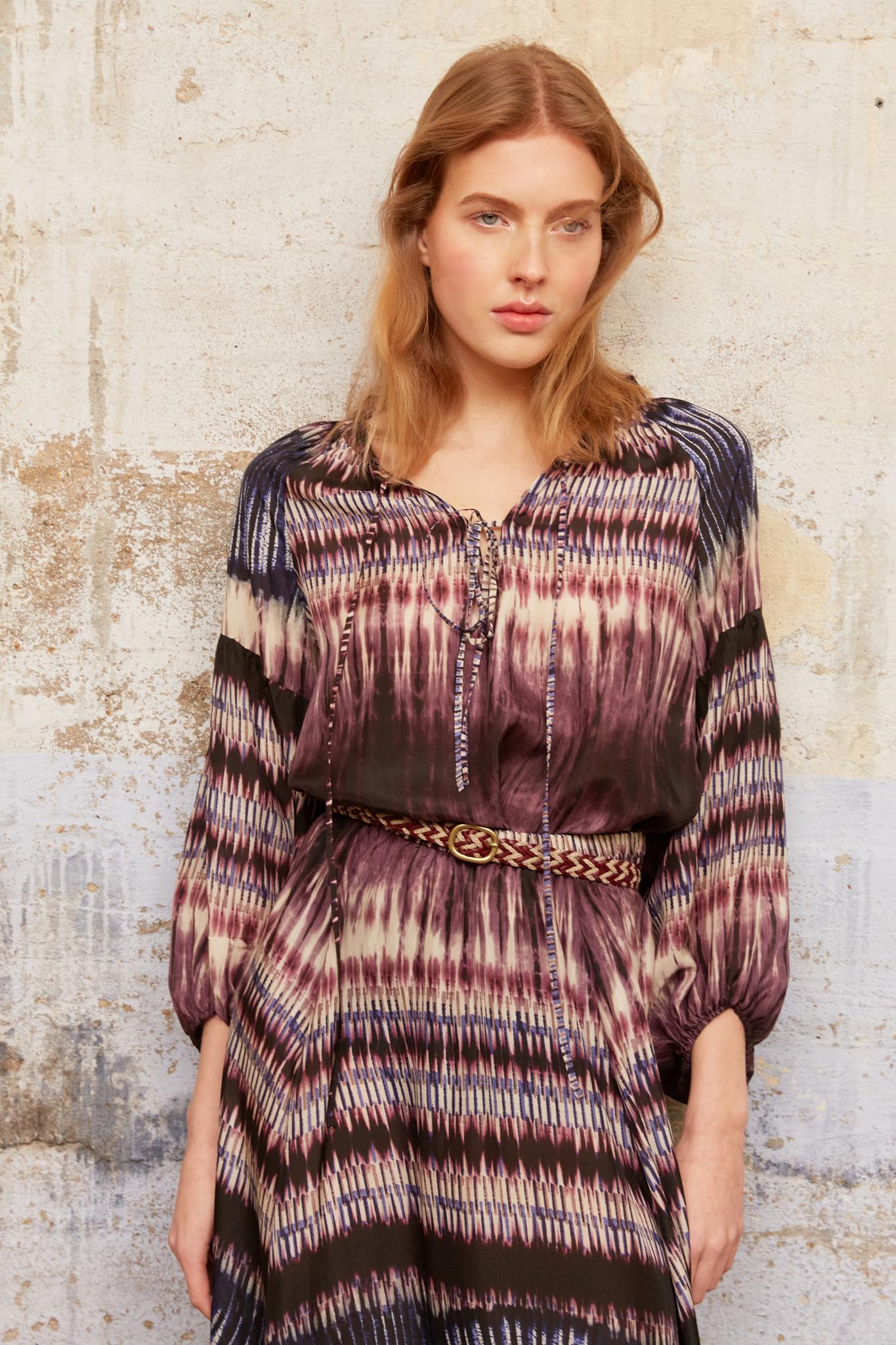 NAHOMY - Шелковая блуза с принтом тай-дай