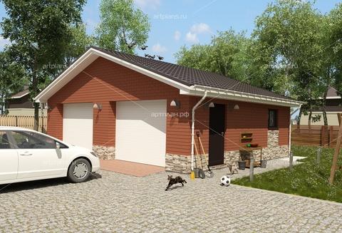 Большой гараж на две машины из красной облицовки G103