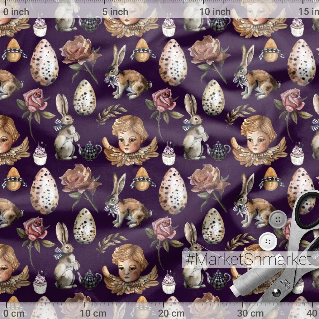 Винтажный ангел с кроликами, цветами и яйцами